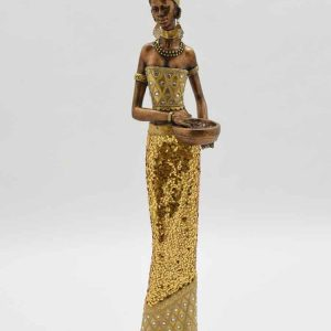 Standing African Lady Gold With Pot 58cm