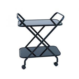 Black Bar Cart With Black Glass Shelves