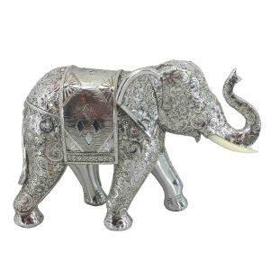 Elephant Silver Mirror Cut Work 29cm