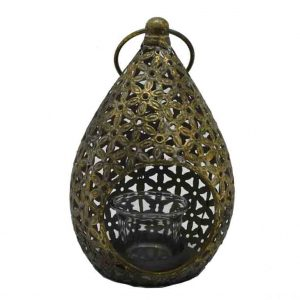 Lantern Antique Gold Tear Drop 19cm