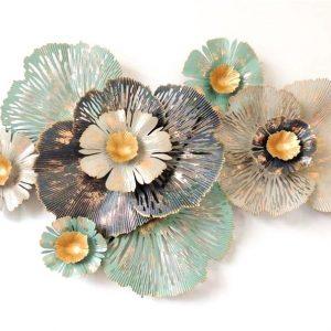 Flowers with Golden Seeds Metal Wall Art