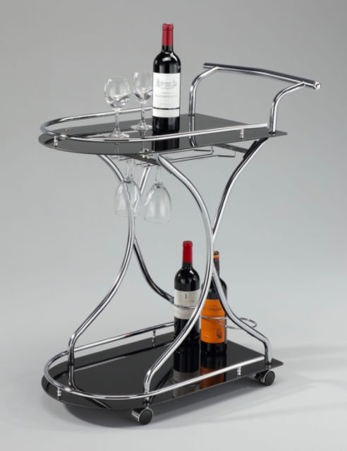 Silver Bar Cart Black Glass Arched Front