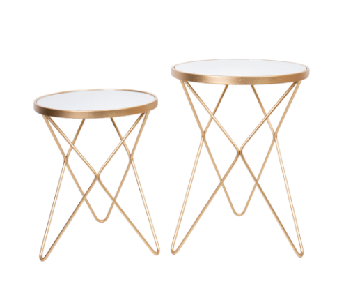Gold Set Of 2 Mirror Top Side Tables
