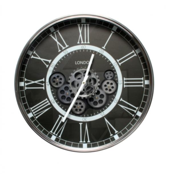 London Moving Gear Clock Black 54cm