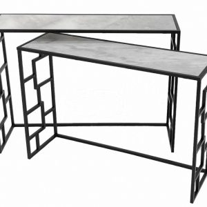 Pattern Marble Top Black Console Table Small