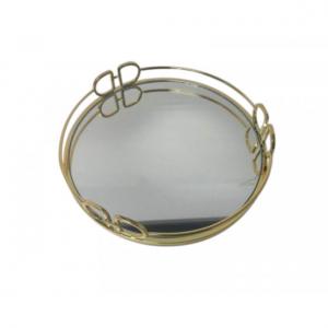 Gold DD Mirror Metal Tray Round Small 25cm
