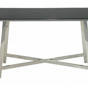 Black Glass Silver Steel Console Table