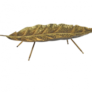 Gold Leaf Metal Footed Tray 50cm