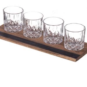 Davis & Waddell Acacia Wood Tray & Four Whisky Glasses