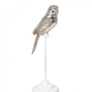 Bird Silver On White Perch Decor 27cm