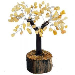 Yellow Quartz Crystal Tree On Wooden Base 18cm