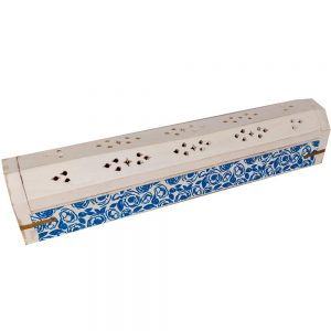 Wooden White Painted Incense Stick & Cone Burner