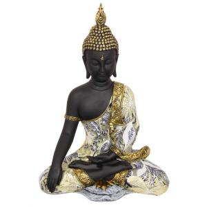 Black & Gold Sitting Buddha Statue 37cm