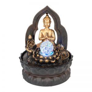 Thai Praying Buddha Water Feature Spinning Ball Led 29cm
