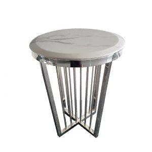 Sherry Silver Marble Top Finish Side Table 45cm